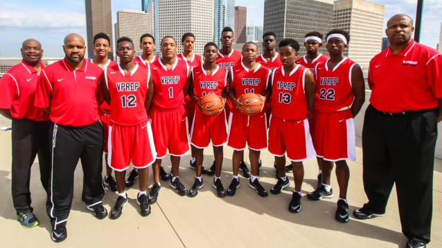 Rodney McCray (far right) with the Victory Prep basketball team in a photo. (Source: bballchampionship.com)