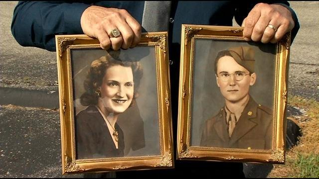 WWII Veteran Jack Dudley and his wife, who recently passed away, leading the family to discover the plot mix-ups.