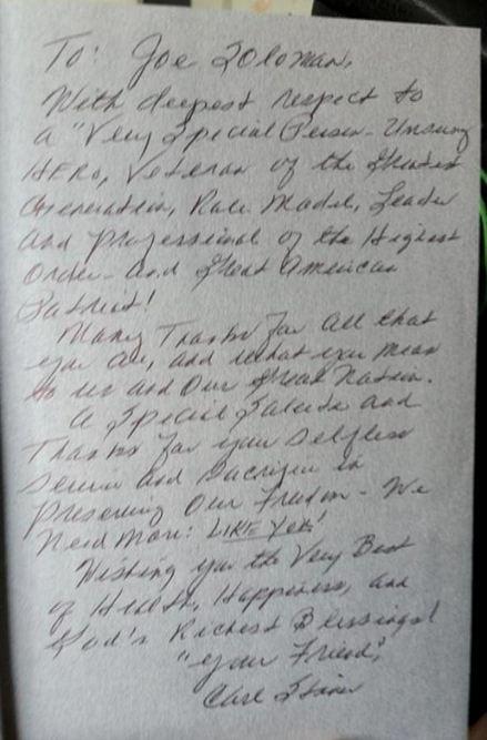 Letter written to Joe Soloman