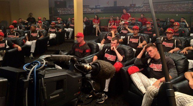 The University of Louisville baseball team prepares to watch the NCAA Tournament draw on Monday afternoon.