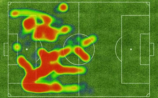 A rough heat map showing Matt Fondy's touches on the ball against Toronto FC II at Louisville Slugger Field. Longer streaks tend to indicate runs of possession.