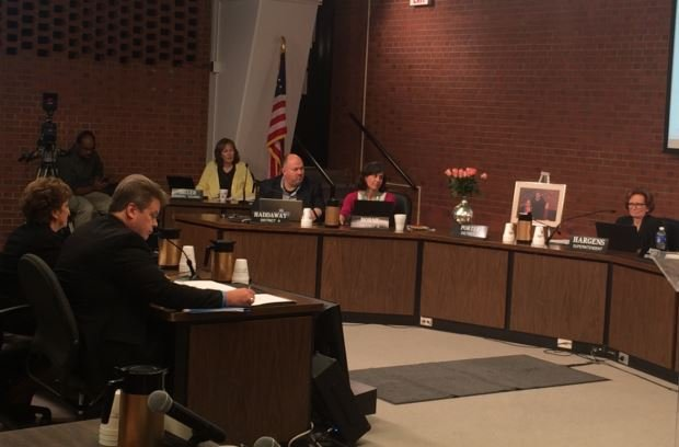 Budget discussion during the Jefferson County Board of Education meeting on May 26, 2015 (photo by Toni Konz, WDRB News)