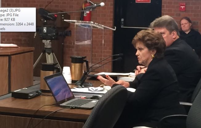 JCPS Chief Financial Officer Cordelia Hardin talks to school board members about the 2015-16 budget (Photo by Toni Konz, WDRB News)