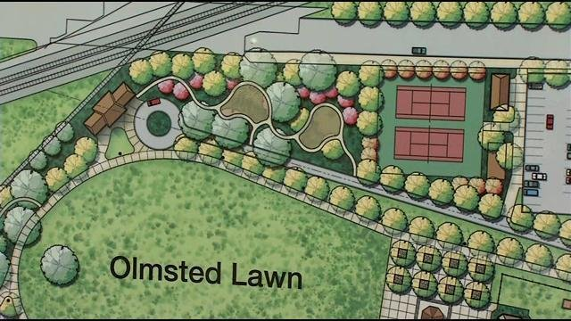 Proposed plans for the park include a water feature, great lawn, sculpture garden and a welcome center with restrooms.