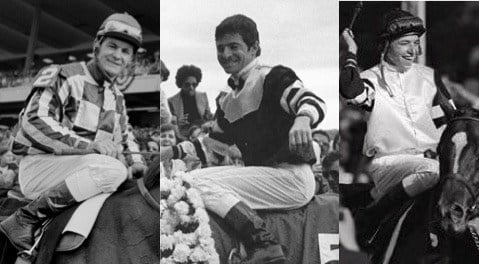Ron Turcotte, left, Jean Cruget and Steve Cauthen. AP file photos.