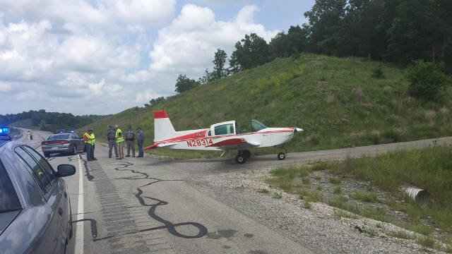 The landing happened along Hwy. 555 in Washington County, just off the Bluegrass Parkway. The plane could be on the side of the road as emergency crews blocked off the area.