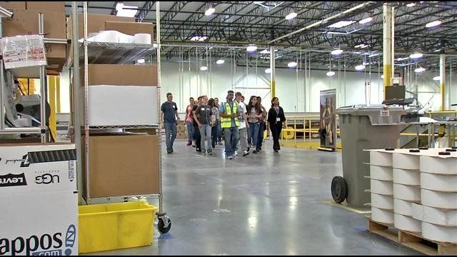 Students from Charlestown High School took a tour of the Amazon fulfillment center in Jeffersonville on May 28, 2015.