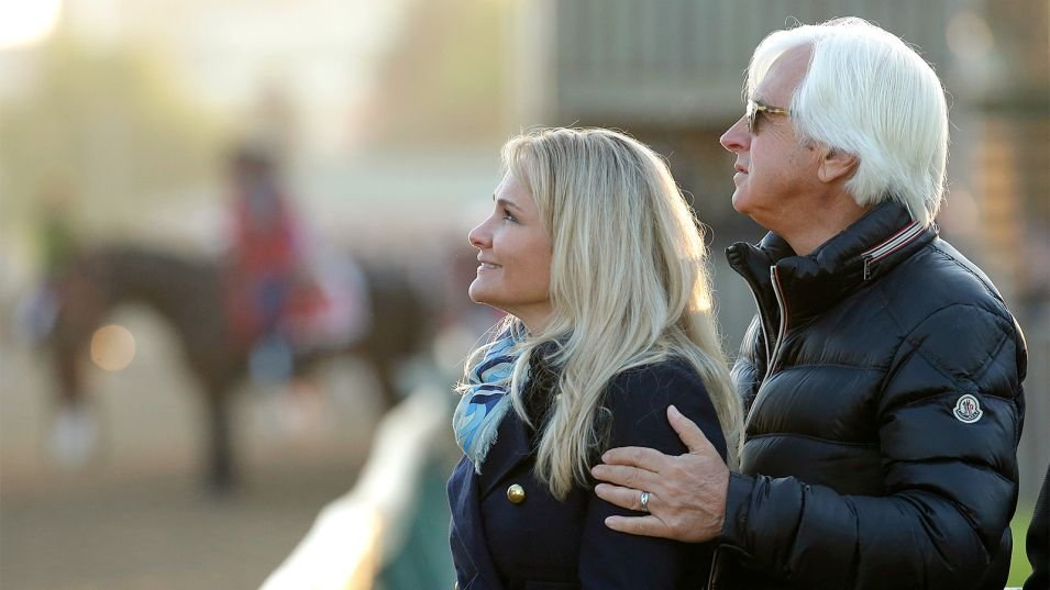 "Bob Baffert and his wife, Jill, at Churchill Downs before the Kentucky Derby. ""I couldn't do this without Jill,"" Baffert said. (AP photo)"