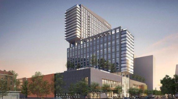 Rendering of proposed Omni Hotel in downtown Louisville