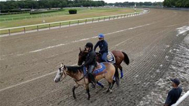 Assistant trainer Jimmy Barnes, left, leads Kentucky Derby and Preakness Stakes winner American Pharoah onto the track for a jog with exercise rider Jorge Alvarez, Wednesday, June 3, 2015.  (AP Photo/Julie Jacobson)