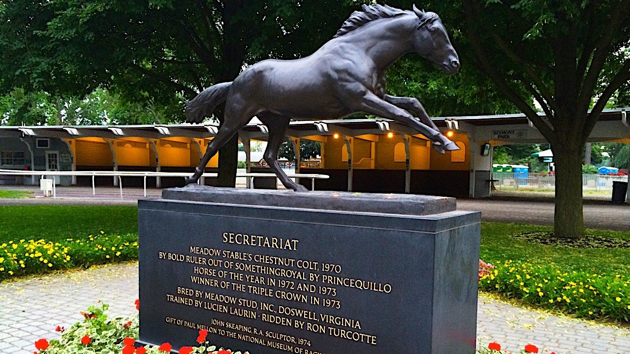 Secretariat's statue in the paddock at Belmont Park (WDRB photo by Eric Crawford).