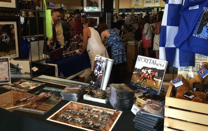 Fans lined up to buy Secretariat merchandise at the Belmont Stakes. (WDRB photo by Eric Crawford).