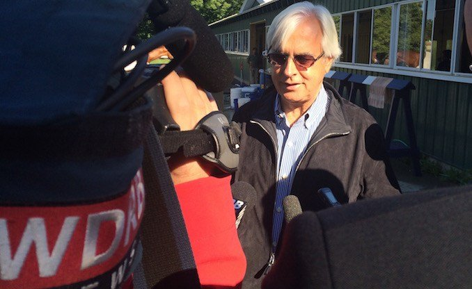 Bob Baffert, trainer of American Pharoah, spoke to reporters the morning after the Belmont. (WDRB photo by Eric Crawford).