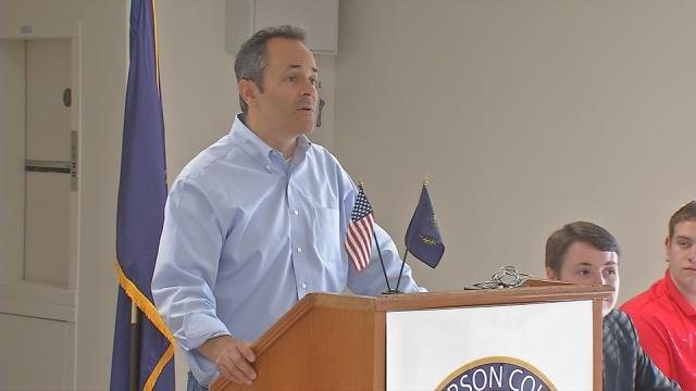 Matt Bevin spoke at a meeting of the Jefferson County Republican Party Tuesday, June 9, 2015.