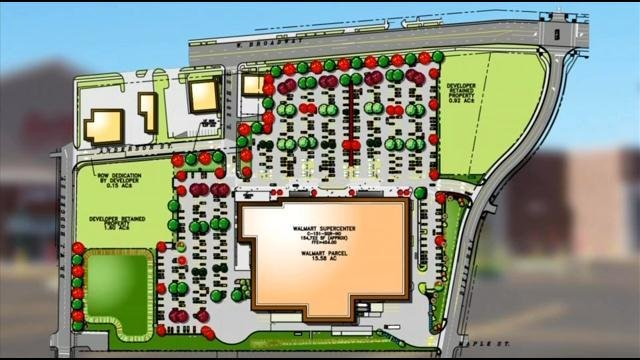 Layout of the proposed Walmart at 18th and Broadway