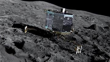 (ESA/ATG medialab/ESA via AP). This artist impression from Dec. 2013 by ESA /ATG medialab , publicly provided by the European Space Agency, ESA, shows Rosetta's lander Philae (front view) on the surface of comet 67P/Churyumov-Gerasimenko.