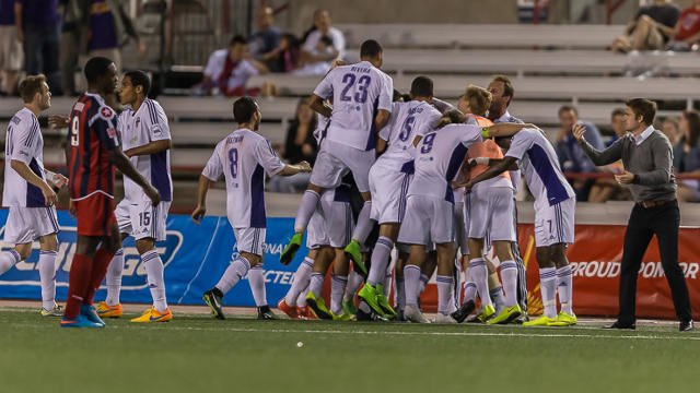 Louisville City players celebrate an extra time, 2-0 win over NASL side Indy Eleven in Indianapolis, the match that earned them a trip to Chicago to take on the Fire in the U.S. Open Cup.