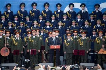 (AP Photo/Ivan Sekretarev). Russian President Vladimir Putin, center, delivers a speech at the opening of the Army-2015 international military show features the latest Russian weapons in Kubinka, outside Moscow, Russia, Tuesday, June 16, 2015.