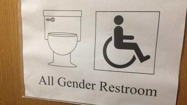 A WDRB File Photo of a gender-neutral restroom sign.