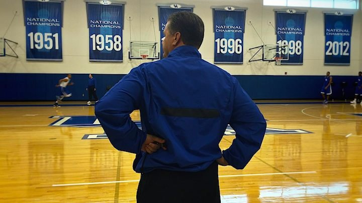 John Calipari inside the UK practice facility. (WDRB photo by Eric Crawford)