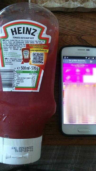 Facebook user Daniel Korrell posted a photo of the bottle and the QR scan results to the Heinz Tomato Ketchup Facebook page (Source: Facebook).
