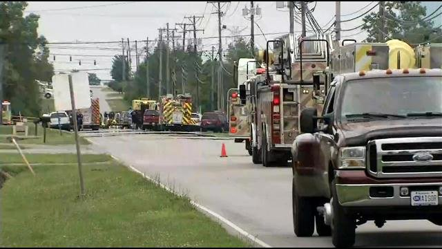 One person was sent to the hospital as dozens were evacuated from a Jeffersontown business after a gas leak Friday.