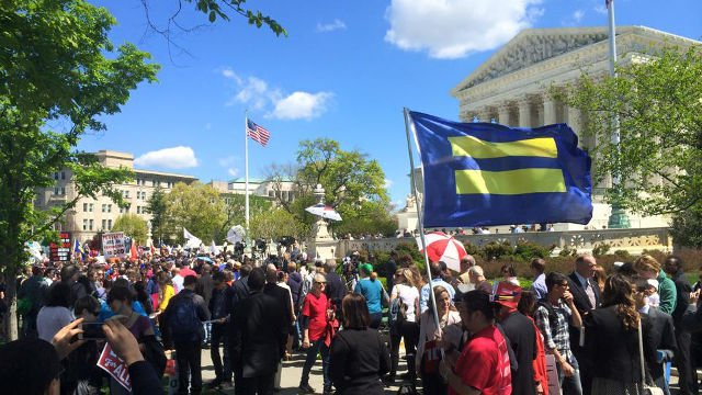 Supporters, protesters gathered outside the Supreme Court in April as the arguments were held for and against same-sex marriage (April 28, 2015 WDRB Photo).