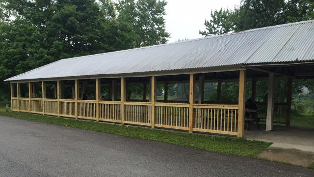 Members of La Grange Baptist Church built a fence around the pavilion, just a few weeks ago.