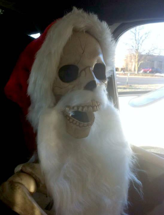 Mr. Bonz in his traditional Santa hat and beard.