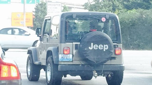 Andrew Johnson's Jeep bears the unique 'Mr Fixit' license plate.