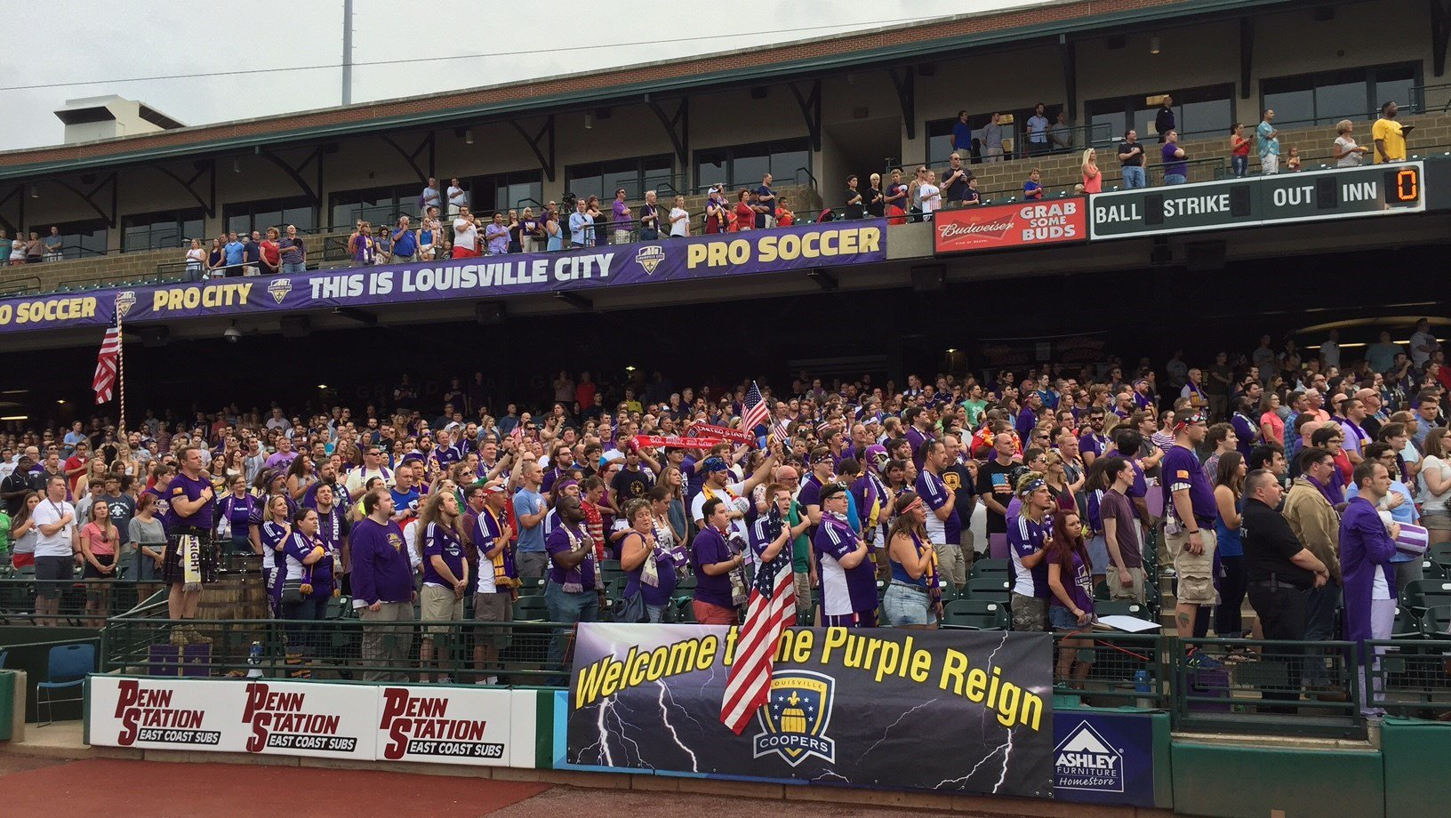 A crowd of 8,254 marks Louisville's first sellout crowd for soccer at Louisville Slugger Field.