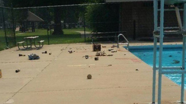 Broken bottles and fireworks were found in the Algonquin pool and nearby playground equipment was burned (Photo courtesy Metro Parks).