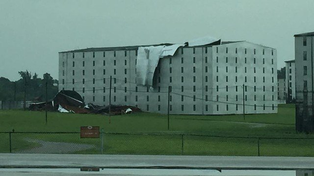 This photo shows the damage to one of Heaven Hill's warehouses that happened during a microburst of winds Tuesday July 7, 2015 (Photo by Jason Norwood).