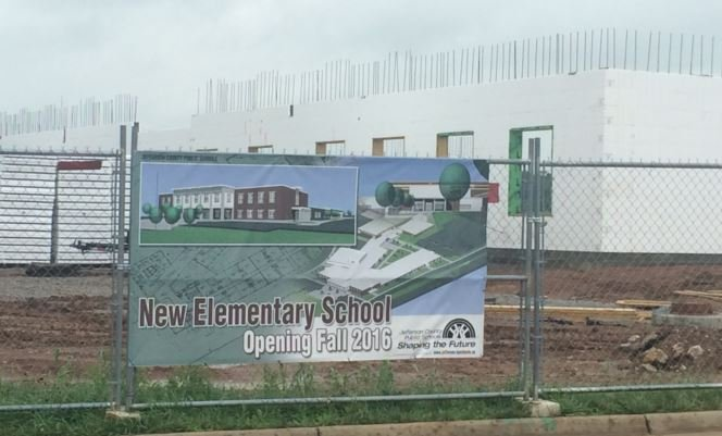 New JCPS elementary school is being built in Norton Commons (Photo by WDRB reporter Toni Konz)