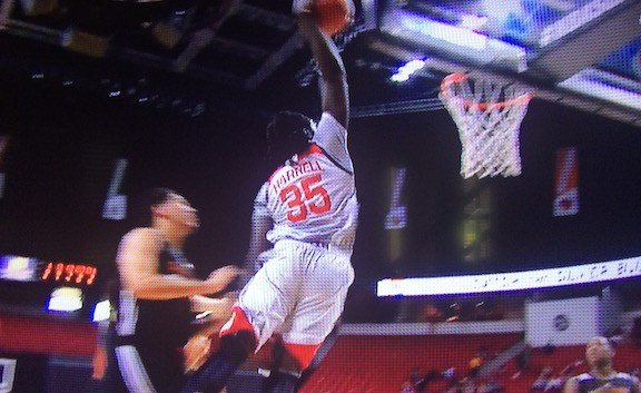 Montrezl Harrell dunks in summer league play. NBA TV photo.