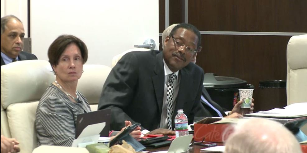Margaret Handmaker, left, was among the directors who resigned from the U of L Foundation board. She is shown here with former foundation director Junior Bridgeman at a meeting July 10, 2015. (image from foundation video)