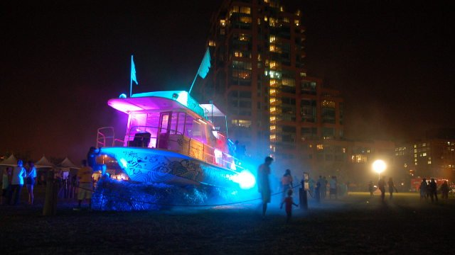 The Forecastle ship glows on the final night of Forecastle 2014 as Beck sent the festival off with a bang (Photo by Dalton Main).