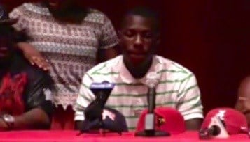 Jawon Pass pauses before announcing his college choice Thursday afternoon.