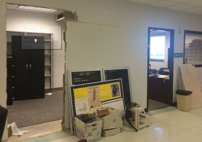 Renovation of the front office at Alex R. Kennedy Elementary School (Photo by Toni Konz, WDRB News)