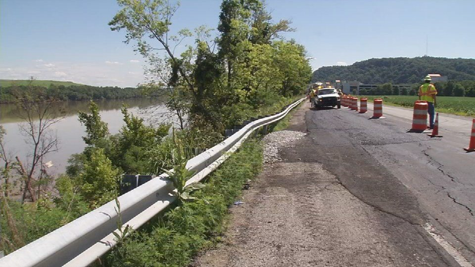 Part of Highway 111, the road leading to Horseshoe Southern Indiana, is giving way –- and drivers are worried it will soon end up in the Ohio River.