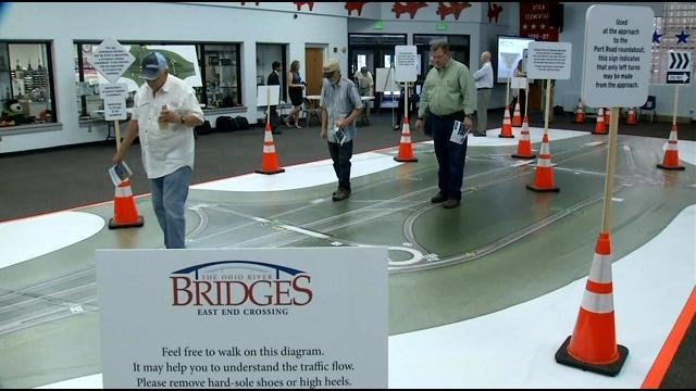 Instead of the roadway or a car, drivers actually used a walking diagram to learn how to navigate the East End Crossing in Jeffersonville.