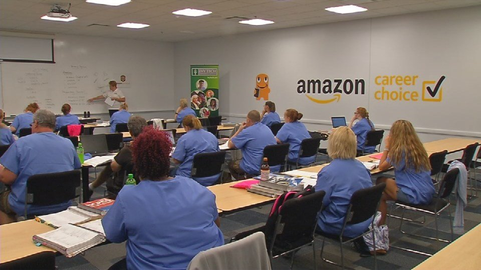 Class is in session for dozens of Amazon employees and the location is pretty convenient.