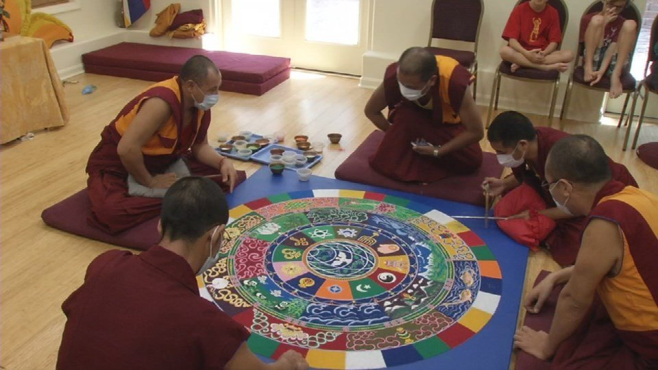 Eight Tibetan Buddhist monks from India spent days creating a sand mandala at the Drepung Gomand Center for Engaging Compassion.