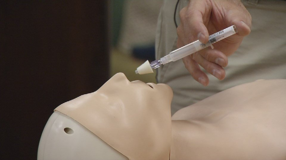A WDRB File photo from a naloxone training session.