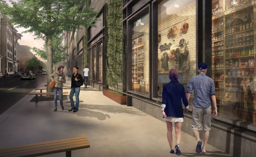 The updated Omni Louisville design includes faux storefront windows and greenery along S. Third Street.