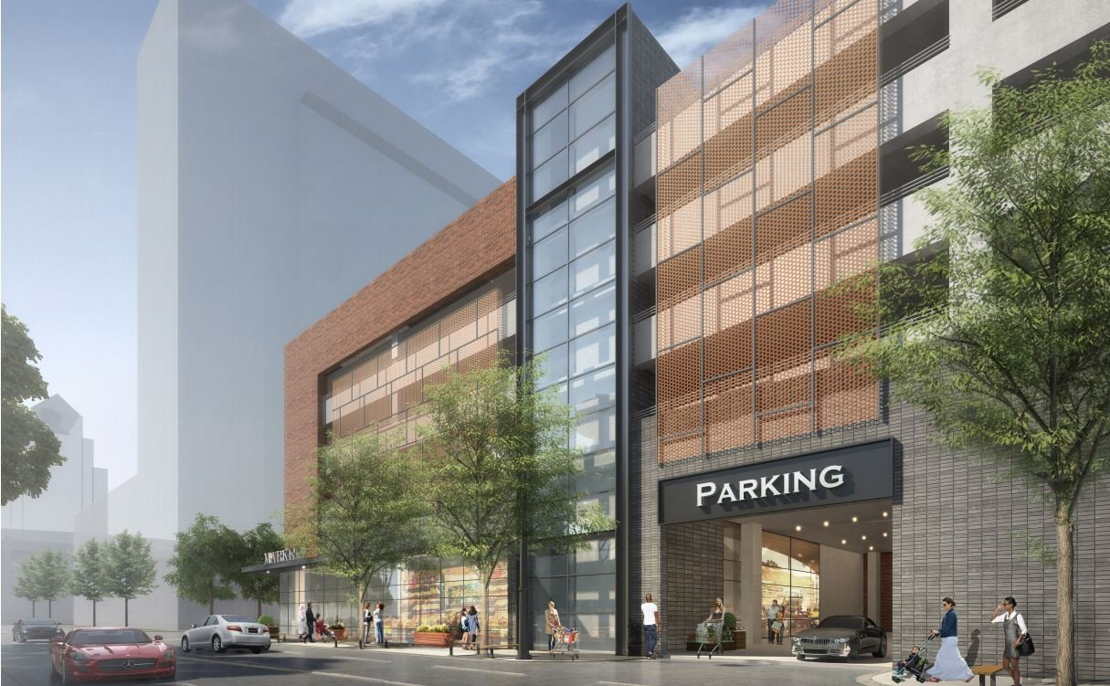 View of the Omni parking garage entrance along S. Third Street.