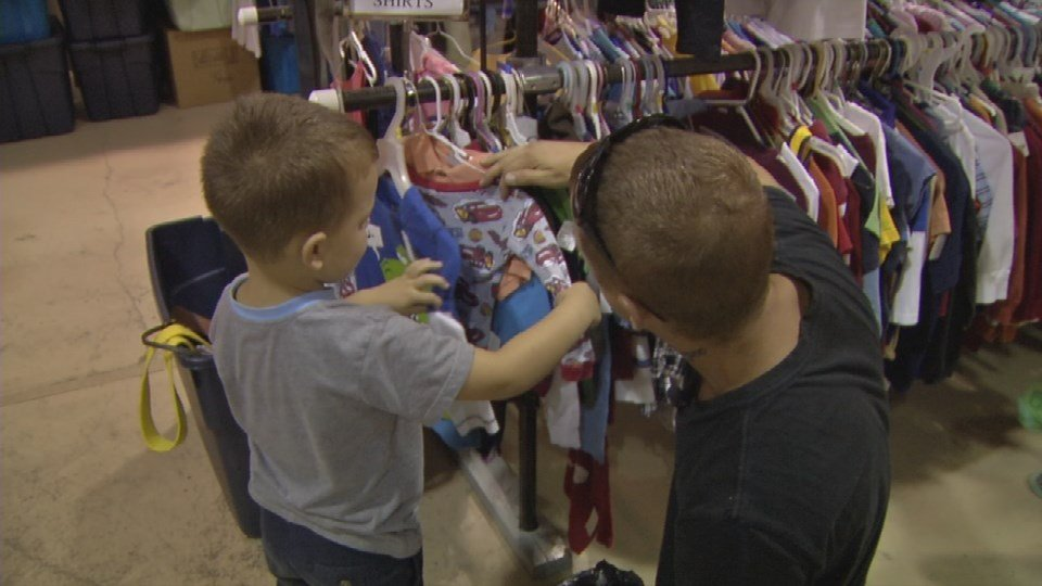 The shopping trip wasa first for Kenneth Bearden. His 4-year-old son Bryce is just weeks away from starting kindergarten.