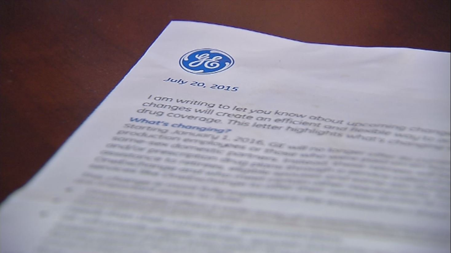 Letter from GE to hourly retirees, July 20, 2015