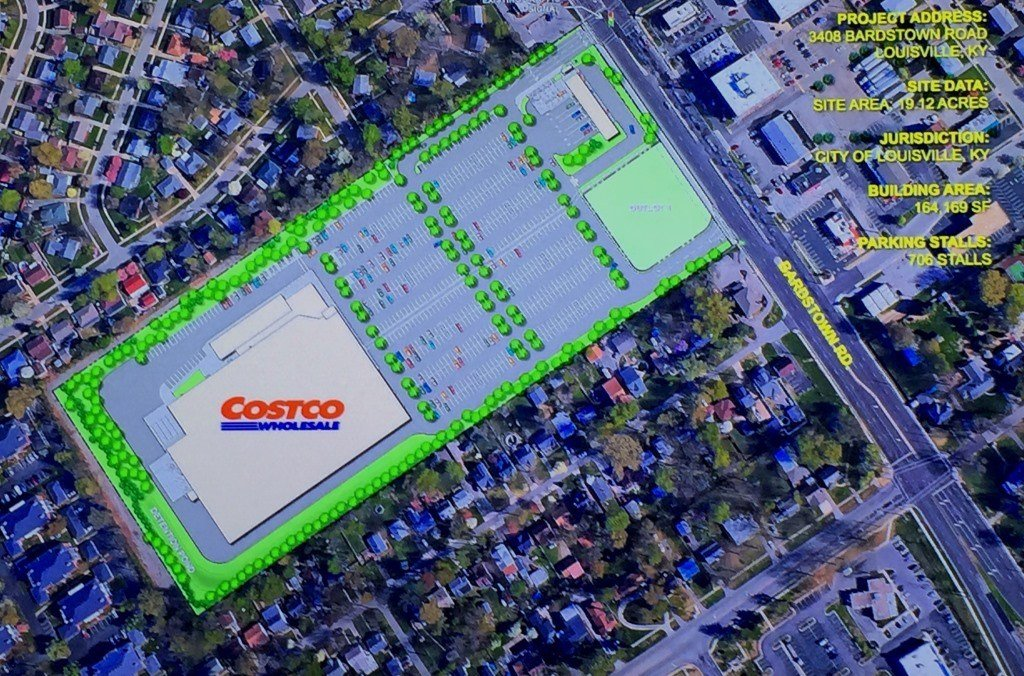 Planned Costco on Bardstown Road. A Chick-fil-A is planned in the southeast corner of the site.