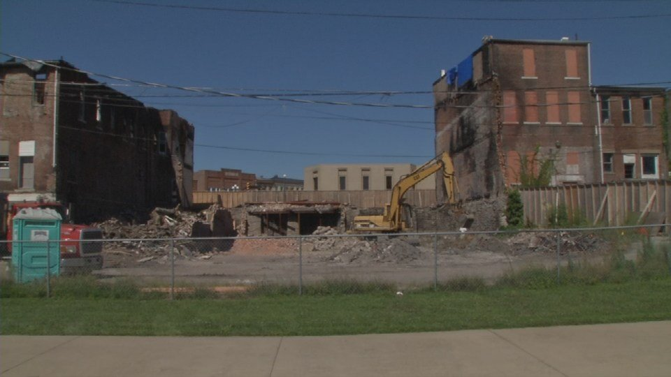 Buildings that stood in North Vernon, Indiana for more than a century are now coming down because of a massive fire that devastated downtown last NOvember.